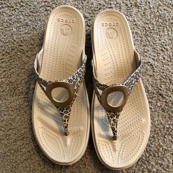 c6f59f66e446 CROCS Shoes | Croc Cheetah Print Thong Wedge Sandals | Poshmark